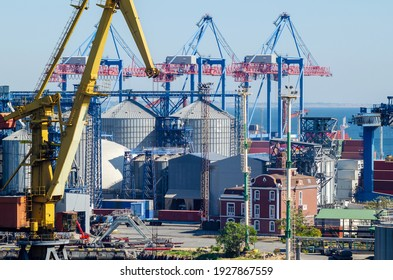 Granary with containers for storage and loading of grain in the seaport. Grain transportation, agribusiness.