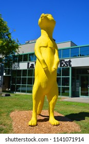 GRANBY QUEBEC CANADA 07 15 2018: Yellow 3,6 metres tall suricat statue. The City of Granby is now positioned as a radiant and fun city.