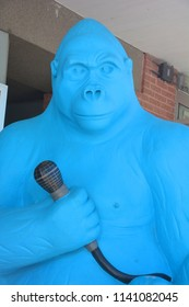 GRANBY QUEBEC CANADA 07 15 2018: Giant blue 2,5 metres tall gorilla statue. Recognition for is zoo the City of Granby is now positioned as a radiant and fun city.