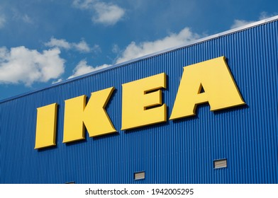 Grancia, Switzerland - 18th March 2021 : IKEA (Ingvar Kamprad Elmtaryd Agunnaryd) sign hanging on the store building in Lugano. Ikea is the world's largest retailer of ready-to-assemble furniture