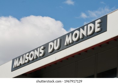 Grancia, Ticino, Switzerland - 4th April 2021 : Maisons du Monde store sign hanging on a building in Lugano. Maisons du Monde is a French furniture and home decor company founded in Brest