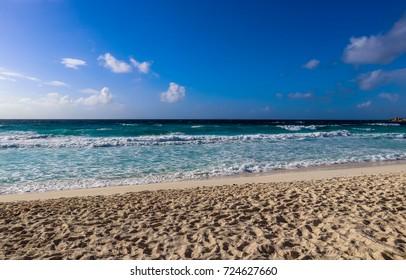 Grand Anse beach. Indian ocean coast of La Digue island at Seychelles. East Africa