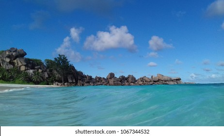 Grand Anse beach Seychelles, coastline from the water