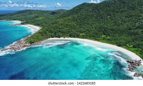 grand anse, petit anse and anse cocos beach on la digue island in Seychelles aerial view