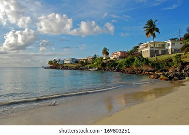 Grand Anse tropical beach in the late afternoon on Grenada Island
