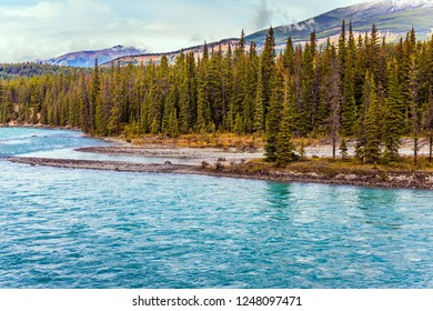Grand autumn in the Rockies of Canada. Picturesque lake with azure water among the mountains and multicolored coniferous forests. The concept of active, photo and eco-tourism
