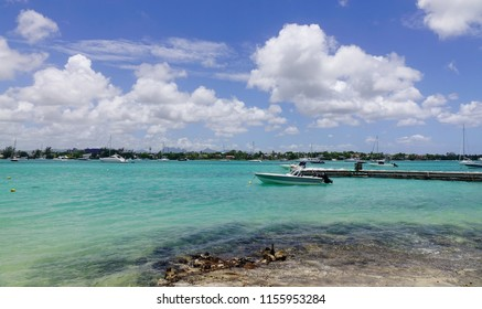 Grand Baie, Mauritius - Jan 10, 2017. Seascape of Grand Baie, Mauritius. Mauritius is a major tourist destination, ranking 3rd in the region.