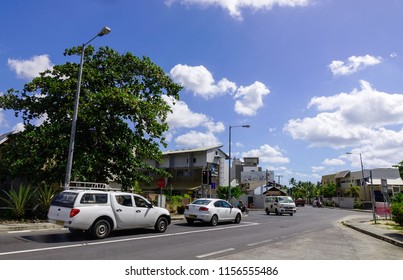 Grand Baie, Mauritius - Jan 10, 2017. Street in Grand Baie, Mauritius. Mauritius is a major tourist destination, ranking 3rd in the region.