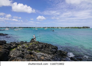 Grand Baie, Mauritius - Jan 3, 2018. Seascape of Grand Baie, Mauritius. Mauritius is a major tourist destination, ranking 3rd in the region.