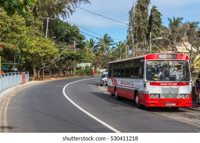 GRAND BAIE, MAURITIUS - OCTOBER 22, 2016: City bus on the main street