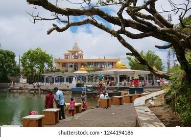 Grand Bassin, Mauritius - December 02, 2012: Unidentified people visit Ganga Talao (Grand Bassin) Hindu temple, Mauritius.