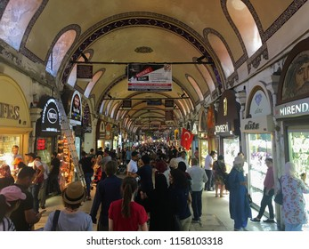 Grand Bazaar, Istanbul, Turkey - 31 July, 2018: A crowded group of tourists at the historical bazaar.