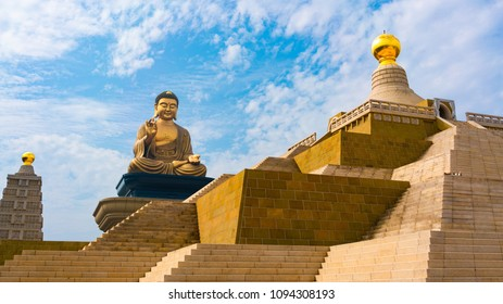 Grand bronze Buddha sitting statue at Fo Guang Shan Buddha memorial center Kaohsiung Taiwan