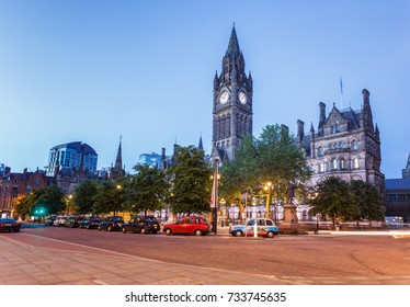 The grand building of Manchester Town hall.