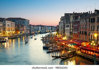 Grand Canal after sunset, Venice - Italy.