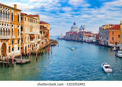 Grand Canal and Basilica Santa Maria della Salute in Venice, Italy. Venice landmark and old architecture. Panorama of beautiful Venice.