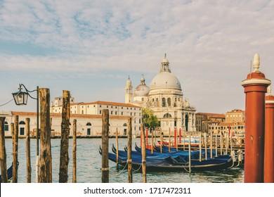 Grand Canal and Basilica Santa Maria della Salute with gondolas, Venice, Veneto, Italy