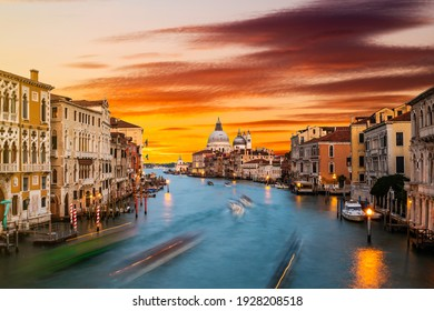 Grand Canal and Basilica Santa Maria della Salute at sunset, Venice, Italy