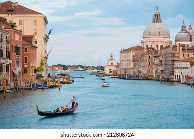 Grand Canal and Basilica Santa Maria della Salute in sunny day. Venice, Italy. Sunny day