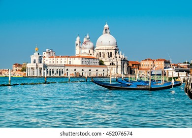 Grand Canal and Basilica Santa Maria della Salute in Venice on a bright day. This image is toned.