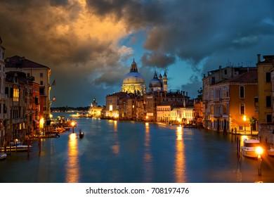 Grand Canal with Basilica Santa Maria della Salute at dusk, Venice, Italy