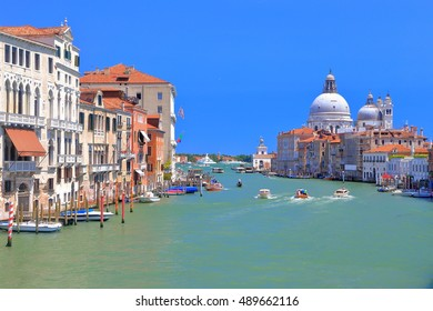 Grand Canal with the church of Santa Maria della Salute in the background, Venice, Italy