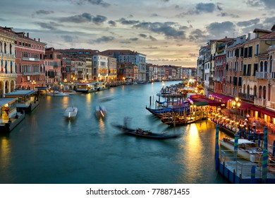 Grand Canal at dusk in Venice, Italy