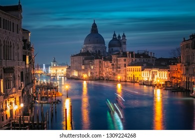 Grand Canal at night with Basilica Santa Maria della Salute, Venice, Italy.
