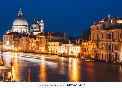 Grand Canal at night, Basilica Santa Maria della Salute, Venice, Italy, night city