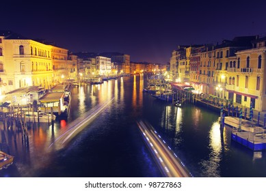 Grand Canal at night, Italy.