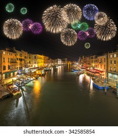 Grand Canal at night from Rialto bridge in Venice, Italy