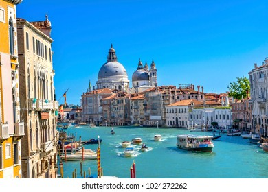 Grand Canal Santa Maria della Salute Church from Ponte Academia Bridge Gondolas Venice Italy