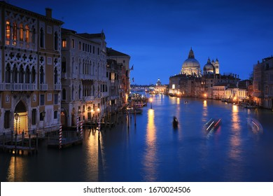 Grand canal of Venice city with beautiful architecture at dusk, Italy