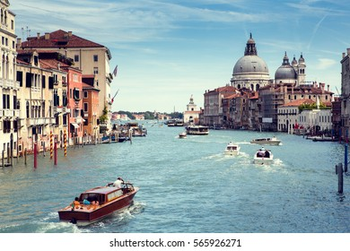 Grand Canal Venice city view from the bridge to the Basilica di Santa Maria della Salute.