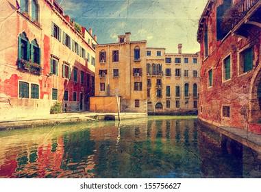 Grand Canal. Venice. Italy. Picture in artistic retro style.