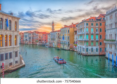 Grand Canal, Venice Italy, sunrise view from Rialto Bridge.