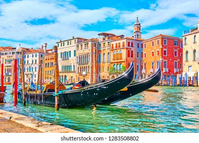 The Grand Canal in Venice with moored gondolas on a summer sunny day, Italy