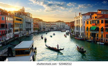 Grand Canal in Venice at the sunset, Italy.
