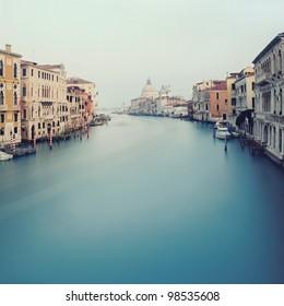 Grand Canal in Venice - view from the Acedemy bridge with Basilica di Santa Maria della Salute background