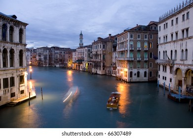 The Grand Canal in Venice,Italy seen in the early evening
