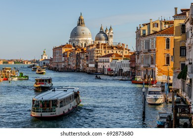 The Grand Canal, Venice's main water thoroughfare, lined with great Renaissance palaces, is a colorful and busy spectacle of gondolas and vaporetto.