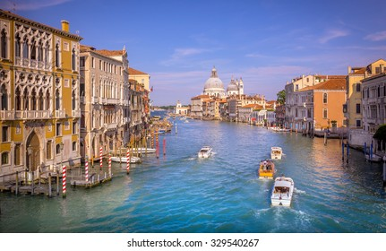 Grand Canal with view on Saint Mary of Health cathedral in Venice, Italy