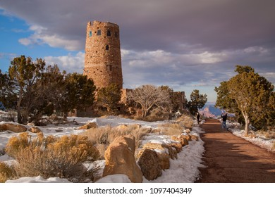 Grand Canyon, Arizona - 12/17/2011: Desert View Watchtower, also known as the Indian Watchtower at Desert View, is a stone building located on the South Rim of the Grand Canyon, Arizona