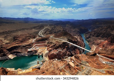 GRAND CANYON, ARIZONA, AZ, USA: A panoramic view of Hoover Dam and the Colorado River Bridge in the Grand Canyon National Park