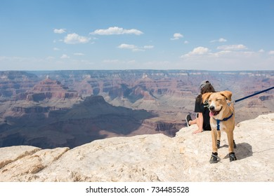 Grand Canyon, Arizona: June 21, 2017: Tourists at the South Rim of Grand Canyon National Park. Grand Canyon National Park was established as a national park in 1919.