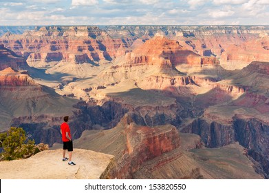 GRAND CANYON, ARIZONA, SEPT 25: Unidentified person look at the Grand Canyon on Sept 25, 2012 in Arizona. The Grand Canyon is a steep-sided canyon carved by the Colorado River in the state of Arizona.
