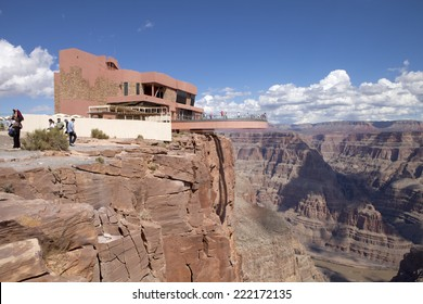 Grand Canyon, Arizona, USA - September 21, 2014: Tourist enjoying the view of the west rim of The Grand Canyon from the Skywalk at Grand Canyon, Arizona, USA on September 21, 2014