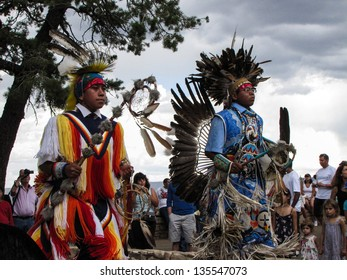 GRAND CANYON, ARIZONA,USA - AUGUST 12: Native American dancers perform at Grand Canyon National Park on August 12, 2011. These dancers like to share their culture with visitors to the park.
