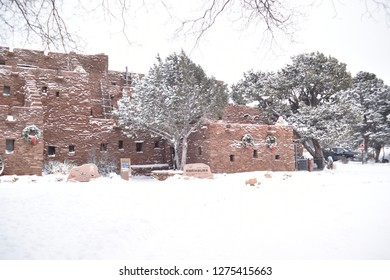 Grand Canyon, AZ., U.S.A. Dec. 31/Jan. 1. Mary E.J. Colter opened The Hopi House in1905 to commemorate adobe pueblo of Hopi Native American Indians seen at Old Oraibi. Dec 31/Jan 1, 2019. Snow mantle