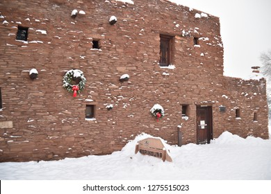 Grand Canyon, AZ., U.S.A. Dec. 31/Jan. 1. 2019. Mary E.J. Colter opened The Hopi House in1905 to commemorate adobe pueblo of Hopi Native American Indians seen at Old Oraibi. National Historic Landmark